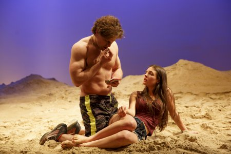 """Joe Tippett and Elise Kibler in a scene from """"Indian Summer"""" (Photo credit: Joan Marcus)"""