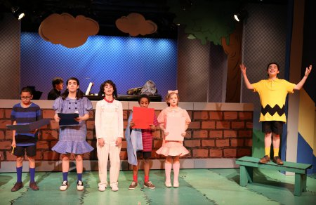 "The Peanuts Gang (Gregory Diaz, Mavis Simpson-Ernst, Aiden Gemme, Jeremy T. Villas, Milly Shapiro and Joshua Colley) in a scene from York Theatre Company's revival of ""You're a Good Man, Charlie Brown"" (Photo credit: Carol Rosegg)"