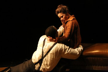 "John Douglas Thompson as The Captain and Maggie Lacey as Laura in a scene from Strindberg's ""The Father"" (Photo credit: Gerry Goodstein)"