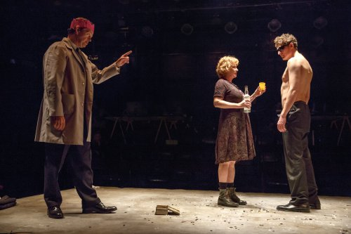 "Dylan Baker, Becky Ann Baker and Gabriel Ebert in a scene from John Doyle's production of ""Peer Gynt"" (Photo credit: Joan Marcus)"