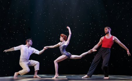"Martin Charrat, Myriam Deraiche and Samuel William Charlton in a scene from Cirque du Soleil's ""Paramour"" (Photo credit: Joan Marcus)"
