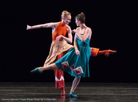"Kaitlyn Gilliland and Eva Trapp in a scene from Twyla Tharp's ""Country Dances"" (Photo credit: Yi-Chun Wu)"