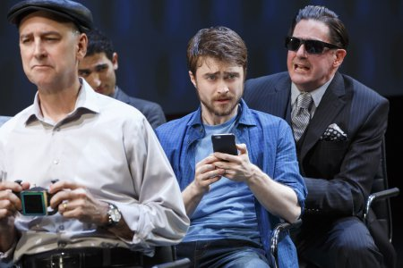 "Michael Countryman, Raffi Barsoumian, Daniel Radcliffe and Red Rogers in a scene from ""Privacy"" now at the Public Theater (Photo credit: Joan Marcus)"