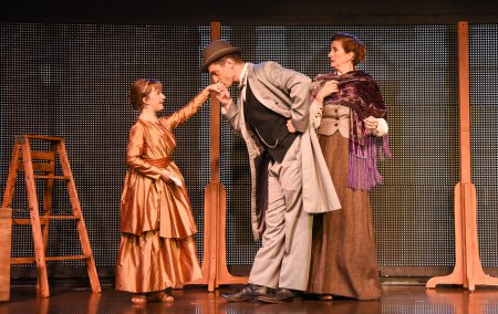 """Abigail Shapiro, Brandon Andrus and Tina Stafford in a scene from """"Liberty: A Monumental New Musical"""" (Photo credit: Russ Rowland)"""