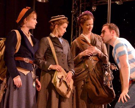 """Ella Dershowitz, Monette Magrath, Emily Kitchens and William John Austin in a scene from """"On the Verge"""" (Photo credit: Natalie Artemyeff)"""