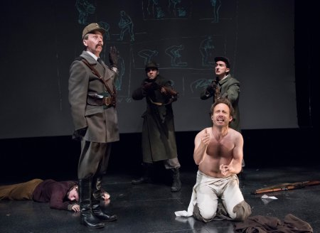 "Jonathan Tindle, Steven Medina, Alex Draper and Alexander Burnett in a scene from Howard Barker's ""No End of Blame: Scenes of Overcoming"" (Photo credit: Stan Barouh)"