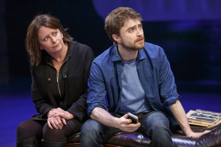 "Rachel Dratch and Daniel Radcliffe in a scene from ""Privacy"" now at the Public Theater (Photo credit: Joan Marcus)"