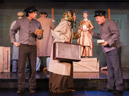 """Ryan Duncan, Tina Stafford and Mark Aldrich in a scene from """"Liberty: A Monumental New Musical"""" (Photo credit: Russ Rowland)"""