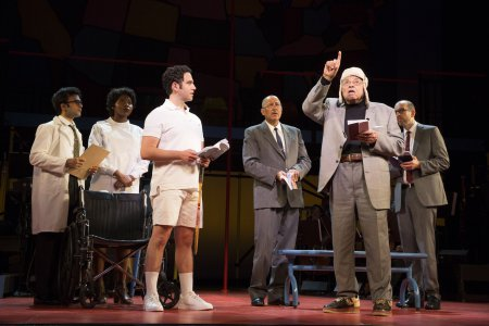 "Santino Fontana, Clark Johnson, James Earl Jones and Jeff Blumenkrantz in a scene from ""Kurt Vonnegut's God Bless You, Mr. Rosewater"" (Photo credit: Joan Marcus)"