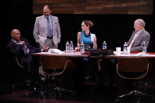 "Andrew Ramcharan Guilarte, David Marantz, Jenny Strassburg and Nick Plakias in a scene from ""A Class Act"" (Photo credit: Carol Rosegg)"