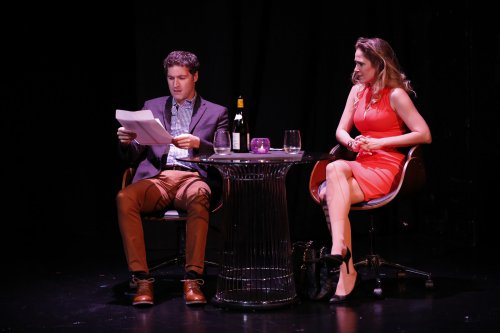 """Matthew DeCapua and Jenny Strassburg in a scene from """"A Class Act"""" (Photo credit: Carol Rosegg)"""