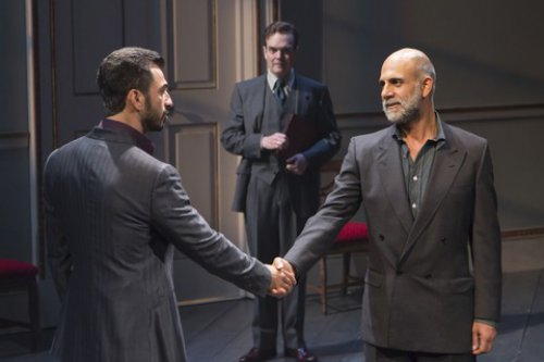 "Michael Aronov, Jefferson Mays and Anthony Azizi in a scene from ""Oslo"" (Photo credit: T. Charles Erickson)"