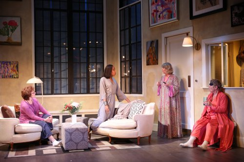 "Angelina Fiordellisi, Francesca Choy-Kee, Judith Ivey and Estelle Parsons in a scene from ""Out of the Mouths of Babes"" (Photo credit: Carol Rosegg)"