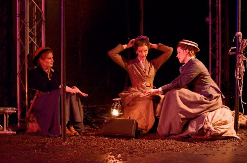 "Ella Dershowitz, Emily Kitchens and Monette Magrath in a scene from ""On the Verge"" (Photo credit: Natalie Artemyeff)"