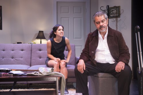 "Connie Saltzman and Anthony Ruiz in a scene from ""Implications of Cohabitation"" (Photo credit: Michael Blase)"