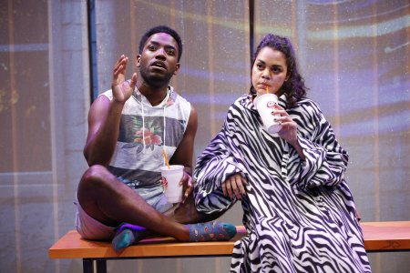 "Chinaza Uche and Kerry Warren in a scene from A. Rey Pamatmat's ""This Is How It Ends"" (Photo credit: Carol Rosegg)"