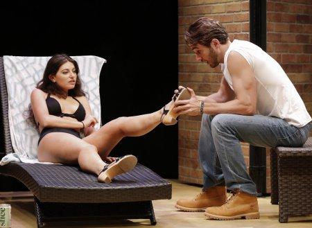 "Michaela Waites and AJ Cedeño in a scene from ""Austin"" (Photo credit: Carol Rosegg)"