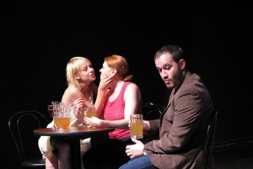 """Christina Toth, Crystal Edn and Randall Rodriguez in a scene from """"Crimes and Crimes"""" (Photo credit: Remy)"""