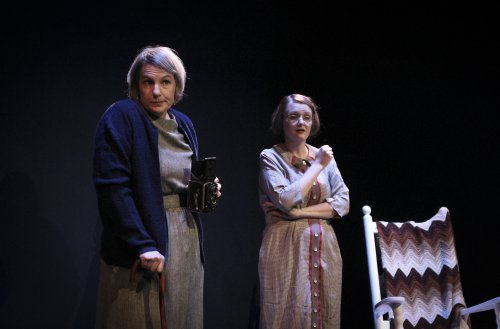 """Jennifer Thalman Kepler as Alice Austen and Laura Ellis as Gertrude Tate in a scene from """"Alice in Black and White"""" (Photo credit: Holly Stone)"""
