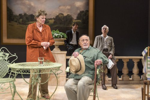 """Jill Tanner, Julian Elfer, George Morforgen and Philip Goodwin in a scene from """"A Day by the Sea"""" (Photo credit: Richard Termine)"""