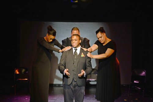 """Lauren Shaye, Marquis Gibson, Christian Lee Branch and Nicole Stacie in in a scene from """"Mother Emanuel (Photo credit: Michela Rynczak)"""