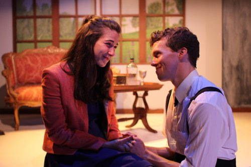 """Lindsay Gitter and Caleb Schaaf in a scene from """"Crashlight"""" (Photo credit: Taylor Wobble)"""