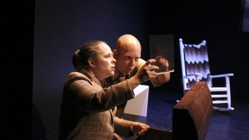 """Trina Fisher and Joseph Hatfield in a scene from """"Alice in Black and White""""(Photo credit: Holly Stone)"""