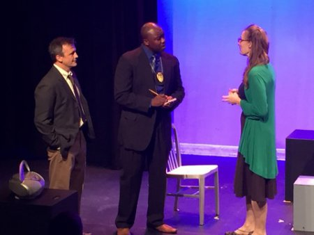 "John Isgro, Jamil A. C. Mangan and Elizabeth Alice Murray in a scene from ""To Protect the Poets"""