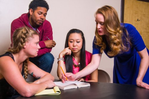 "Joy Donze, Dehawn Wyatte, Ariel Kim and Elizabeth Alice Murray in a scene from ""To Protect the Poets"" (Photo credit: Peter James Zielinski)"