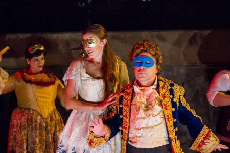"Kate Weber, Alaina Ferris and Steven Rattazzi in a scene from ""The Black Crook"" (Photo credit: Kelly Stuart)"