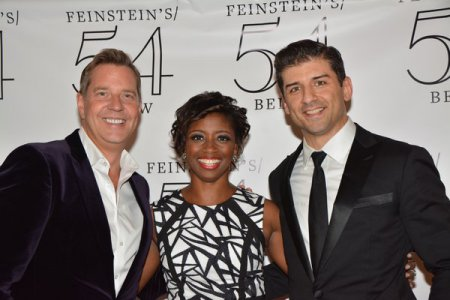 Music director Steven Reineke, and soloists Montego Glover and Tony Yazbeck after The New York Pops Underground at Feinstein's/54 Below (September 19, 2016) (Photo credit: Genevieve Keddy)