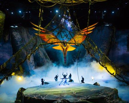 "The flight of the Toruk in a scene from Cirque Du Soleil's ""Toruk- The First Flight"" (Photo credit: Errisson Lawrence, costumes: Kym Barrett; puppet designer: Patrick Martel)"