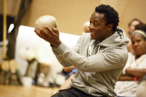 """Chukwudi Iwuji in the title role of Mobile Unit's """"Hamlet"""" now at the Public Theater (Photo credit: Joan Marcus)"""