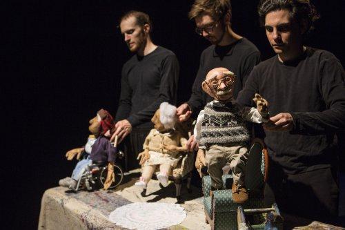 "Rowan Magee, Robert Stevenson and Nicholas Lehane with puppets designed by Spencer Lott for ""Blossom"" (Photo credit: Maria Baranova)"