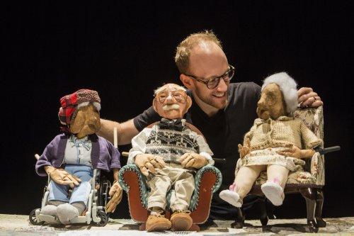 "Spencer Lott with puppets from ""Blossom"" (Photo credit: Maria Baranova)"