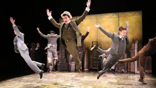 "Matt McLean (center) and ensemble members in a scene from ""Fiorello!"" (Photo credit: Alexander Hill)"