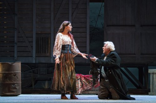 "Inna Dukach and Stefan Szkafarowsky in a scene from the New York City Opera's production of ""Aleko"" (Photo credit: Sarah Shatz/New York City Opera)"