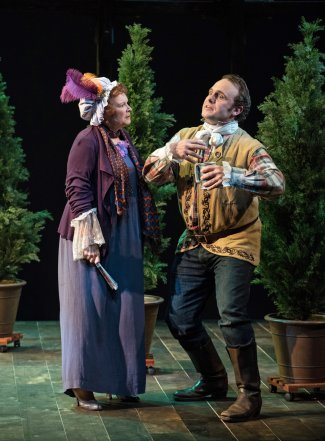"""Cynthia Darlow and Richard Thieriot in a scene from TACT's revival of """"She Stoops to Conquer"""" (Photo credit: Marielle Solan)"""