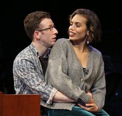 "Nick Blaemire and Ciara Renée in a scene from ""Tick, Tick… BOOM!"" (Photo credit: Carol Rosegg)"