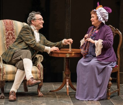 """John Rothman and Cynthia Darlow in a scene from TACT's revival of """"She Stoops to Conquer"""" (Photo credit: Marielle Solan)"""