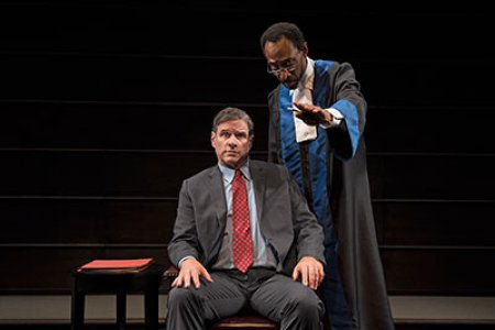 "Tony Carlin and Michael Rogers in a scene from ""The Trial of an American President"" (Photos credit: Ken Nahoum)"