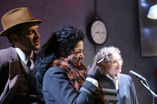 """Antonio Edwards Suarez, Elise Stone and Ellen Mandel in a scene from """"The Resistible Rise of Arturo Ui"""" (Photo credit: Gerry Goodstein)"""