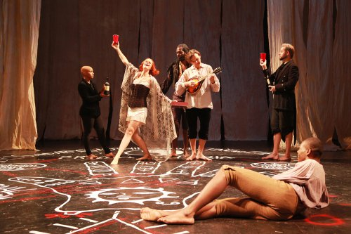 """Ashley Winkfield, Katie Melby, Equiano, Andrew Lynch, Benjamin Stuber and Demetrius Stewart in a scene from """"Phantasmagoria; or, Let Us Seek Death!"""" (Photo credit: Theo Cote)"""