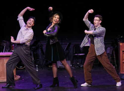 "George Salazar, Ciara Renée and Nick Blaemire in a scene from ""Tick, Tick… BOOM!"" (Photo credit: Carol Rosegg)"