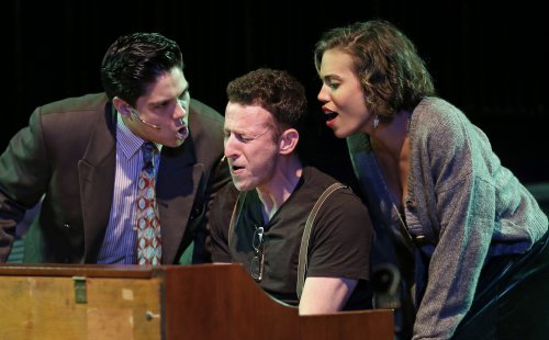 "George Salazar, Nick Blaemire and Ciara Renée in a scene from ""Tick, Tick… BOOM!"" (Photo credit: Carol Rosegg)"