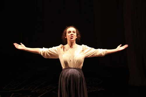 """Jane Bradley as Mary Shelley in a scene from """"Phantasmagoria; or, Let Us Seek Death!"""" (Photo credit: Theo Cote)"""