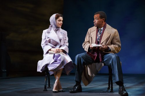 "Rachel Weisz and LeRoy McClain in a scene from The Public Theater's revival David Hare's ""Plenty"" (Photo credit: Joan Marcus)"
