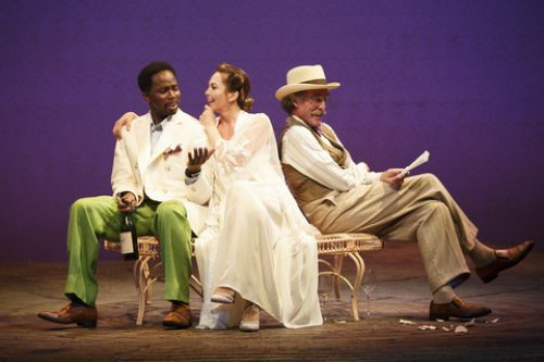 "Harold Perrineau, John Glover and Diane Lane in a scene from ""The Cherry Orchard"" (Photo credit: Joan Marcus)"