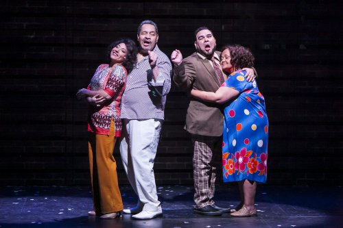 "Shadia Fairuz, Tito Nieves, Angel López and Rossmary Almonte in a scene from ""I Like It Like That"" (Photo credit: Marisol Diaz)"