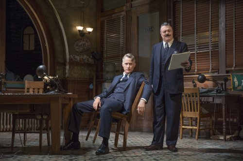 "John Slattery and Nathan Lane in a scene from ""The Front Page"" (Photo credit: Julieta Cervantes)"